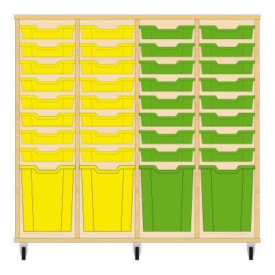 Storix Materiaalkast 51 beuken, B1390xH1200xD465 - laden geel-geel-groen-groen