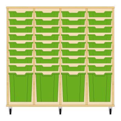 Storix Materiaalkast 51 beuken, B1390xH1200xD465 - laden groen