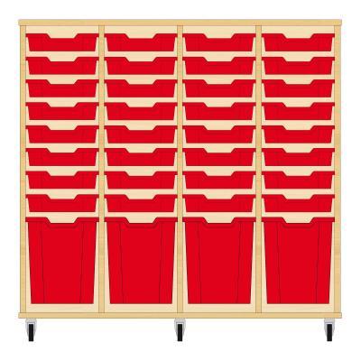 Storix Materiaalkast 51 beuken, B1390xH1200xD465 - laden rood