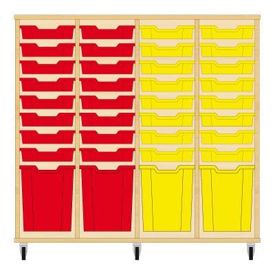 Storix Materiaalkast 51 beuken, B1390xH1200xD465 - laden rood-rood-geel-geel