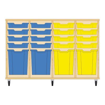 Storix Materiaalkast 51 beuken, B1390xH856xD465 - laden blauw-blauw-geel-geel
