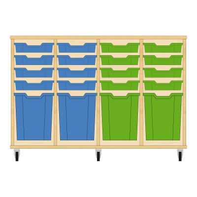 Storix Materiaalkast 51 beuken, B1390xH856xD465 - laden blauw-blauw-groen-groen