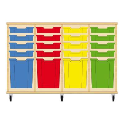 Storix Materiaalkast 51 beuken, B1390xH856xD465 - laden blauw-rood-geel-groen