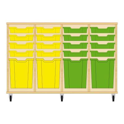 Storix Materiaalkast 51 beuken, B1390xH856xD465 - laden geel-geel-groen-groen
