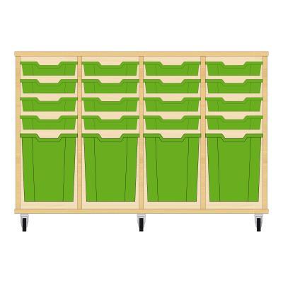 Storix Materiaalkast 51 beuken, B1390xH856xD465 - laden groen