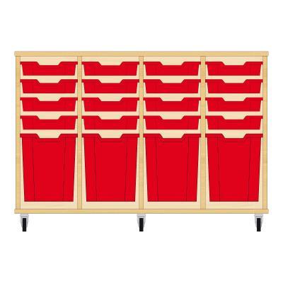 Storix Materiaalkast 51 beuken, B1390xH856xD465 - laden rood