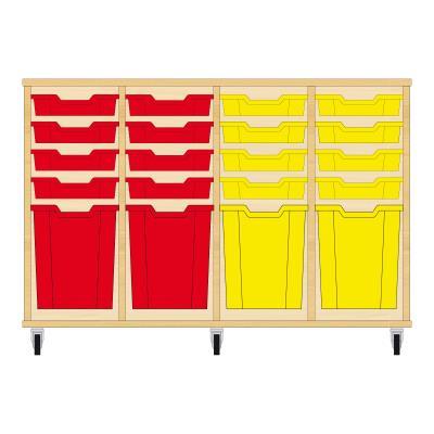 Storix Materiaalkast 51 beuken, B1390xH856xD465 - laden rood-rood-geel-geel