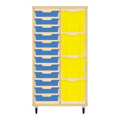 Storix Materiaalkast 72 beuken, B710xH1200xD465 - laden blauw-geel