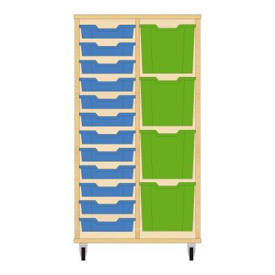 Storix Materiaalkast 72 beuken, B710xH1200xD465 - laden blauw-groen