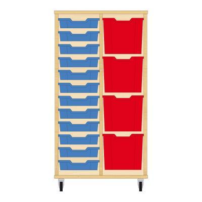 Storix Materiaalkast 72 beuken, B710xH1200xD465 - laden blauw-rood
