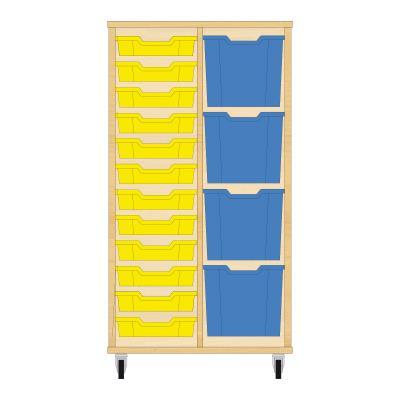 Storix Materiaalkast 72 beuken, B710xH1200xD465 - laden geel-blauw