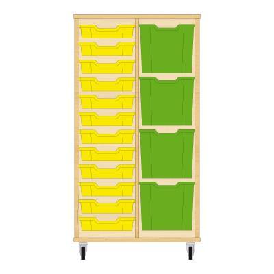 Storix Materiaalkast 72 beuken, B710xH1200xD465 - laden geel-groen