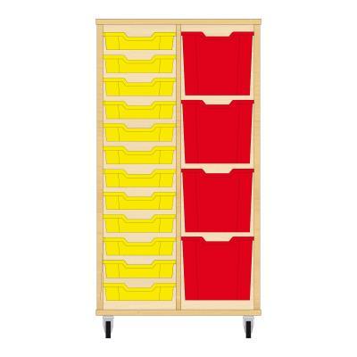 Storix Materiaalkast 72 beuken, B710xH1200xD465 - laden geel-rood