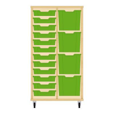Storix Materiaalkast 72 beuken, B710xH1200xD465 - laden groen