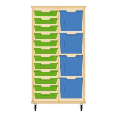 Storix Materiaalkast 72 beuken, B710xH1200xD465 - laden groen-blauw