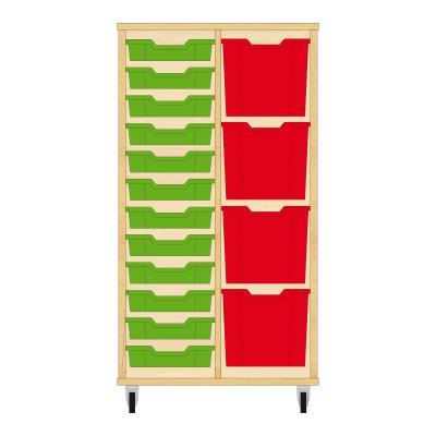 Storix Materiaalkast 72 beuken, B710xH1200xD465 - laden groen-rood