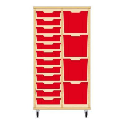 Storix Materiaalkast 72 beuken, B710xH1200xD465 - laden rood