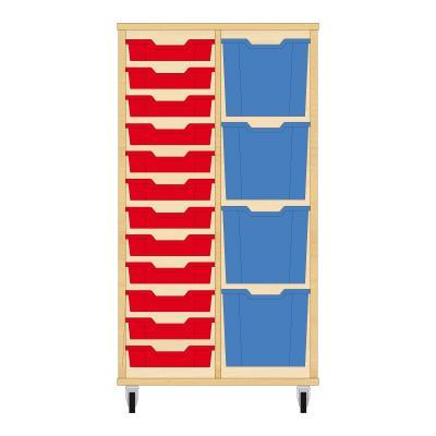 Storix Materiaalkast 72 beuken, B710xH1200xD465 - laden rood-blauw