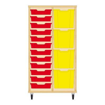 Storix Materiaalkast 72 beuken, B710xH1200xD465 - laden rood-geel