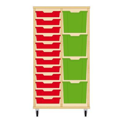Storix Materiaalkast 72 beuken, B710xH1200xD465 - laden rood-groen