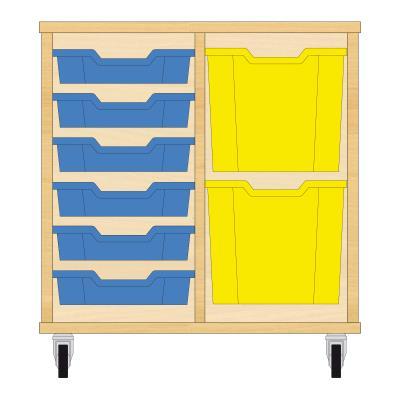 Storix Materiaalkast 72 beuken, B710xH684xD465 - laden blauw-geel