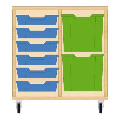 Storix Materiaalkast 72 beuken, B710xH684xD465 - laden blauw-groen