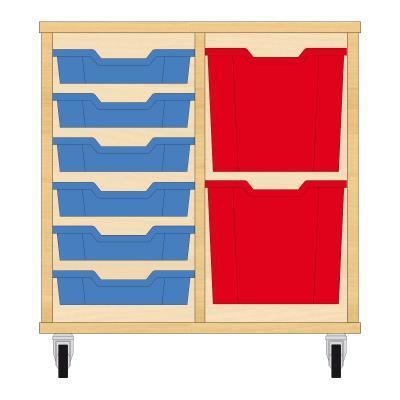 Storix Materiaalkast 72 beuken, B710xH684xD465 - laden blauw-rood