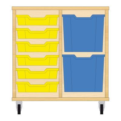 Storix Materiaalkast 72 beuken, B710xH684xD465 - laden geel-blauw