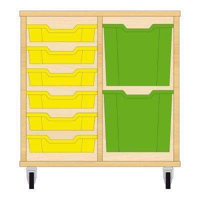 Storix Materiaalkast 72 beuken, B710xH684xD465 - laden geel-groen