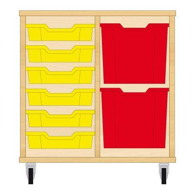 Storix Materiaalkast 72 beuken, B710xH684xD465 - laden geel-rood