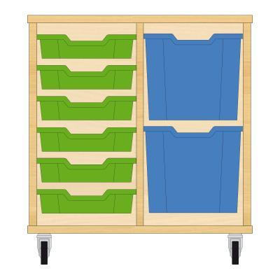 Storix Materiaalkast 72 beuken, B710xH684xD465 - laden groen-blauw