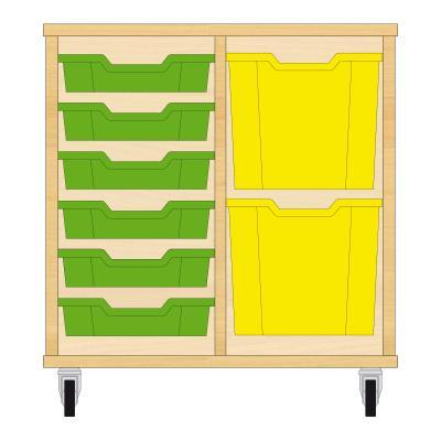 Storix Materiaalkast 72 beuken, B710xH684xD465 - laden groen-geel