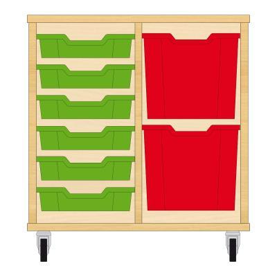 Storix Materiaalkast 72 beuken, B710xH684xD465 - laden groen-rood
