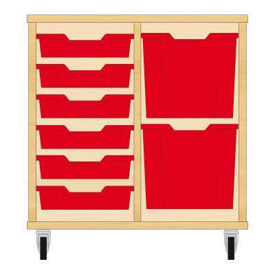 Storix Materiaalkast 72 beuken, B710xH684xD465 - laden rood