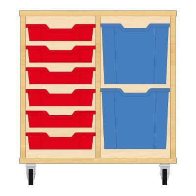 Storix Materiaalkast 72 beuken, B710xH684xD465 - laden rood-blauw