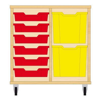 Storix Materiaalkast 72 beuken, B710xH684xD465 - laden rood-geel