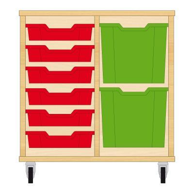 Storix Materiaalkast 72 beuken, B710xH684xD465 - laden rood-groen