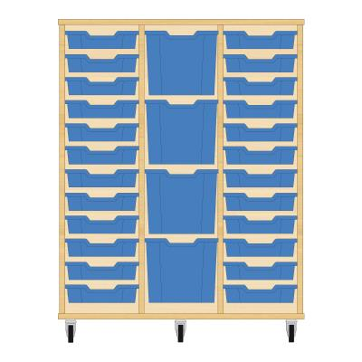 Storix Materiaalkast 82 beuken, B1050xH1200xD465 - laden blauw