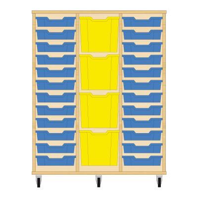Storix Materiaalkast 82 beuken, B1050xH1200xD465 - laden blauw-geel-blauw