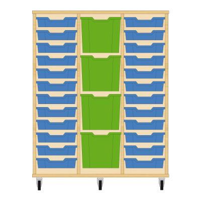 Storix Materiaalkast 82 beuken, B1050xH1200xD465 - laden blauw-groen-blauw
