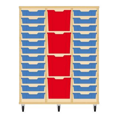 Storix Materiaalkast 82 beuken, B1050xH1200xD465 - laden blauw-rood-blauw