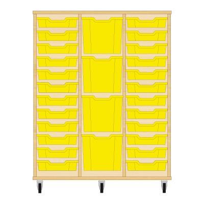 Storix Materiaalkast 82 beuken, B1050xH1200xD465 - laden geel