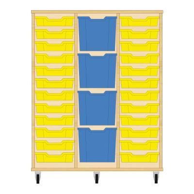 Storix Materiaalkast 82 beuken, B1050xH1200xD465 - laden geel-blauw-geel