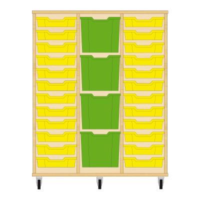 Storix Materiaalkast 82 beuken, B1050xH1200xD465 - laden geel-groen-geel