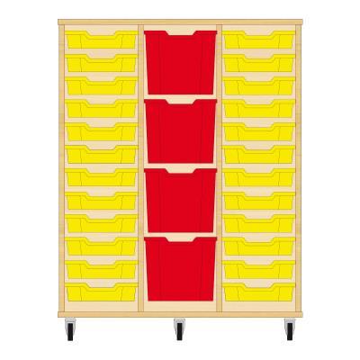 Storix Materiaalkast 82 beuken, B1050xH1200xD465 - laden geel-rood-geel