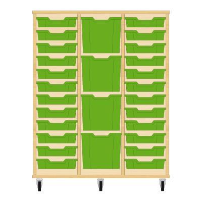Storix Materiaalkast 82 beuken, B1050xH1200xD465 - laden groen