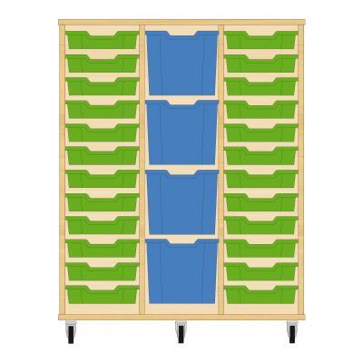 Storix Materiaalkast 82 beuken, B1050xH1200xD465 - laden groen-blauw-groen