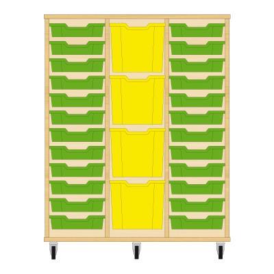 Storix Materiaalkast 82 beuken, B1050xH1200xD465 - laden groen-geel-groen
