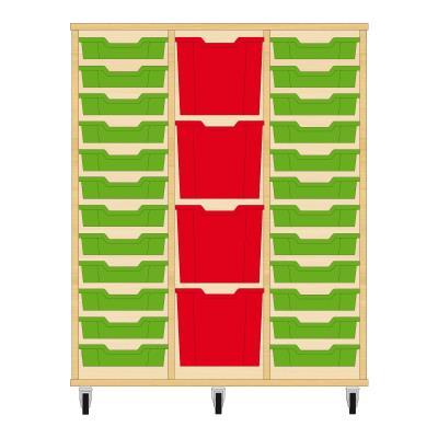 Storix Materiaalkast 82 beuken, B1050xH1200xD465 - laden groen-rood-groen