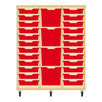 Storix Materiaalkast 82 beuken, B1050xH1200xD465 - laden rood